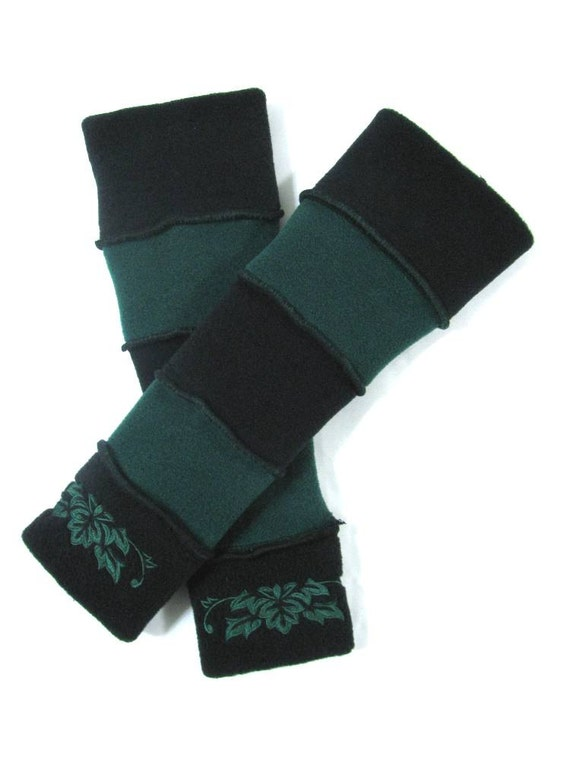 CUSTOM ORDER - ReSeRvEd for IMAN - Black & Dark Green Arm Warmers with Damask Embroidery