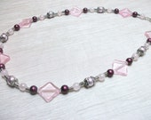 Pink and mauve beaded necklace pretty in pink silver and mauve