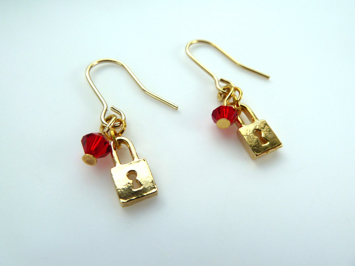 gold padlock earrings gold plated pad lock and by