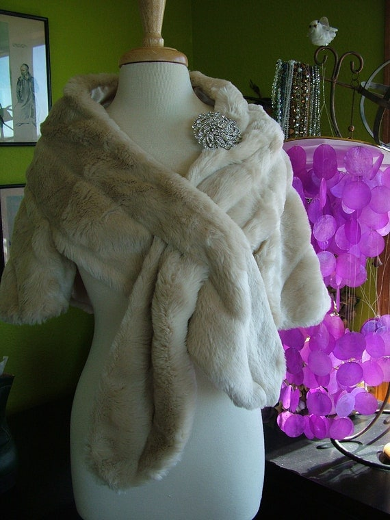 Wedding faux fur stole wrap bolero wedding cape mink stole coat bridal jacket evening gown wrap
