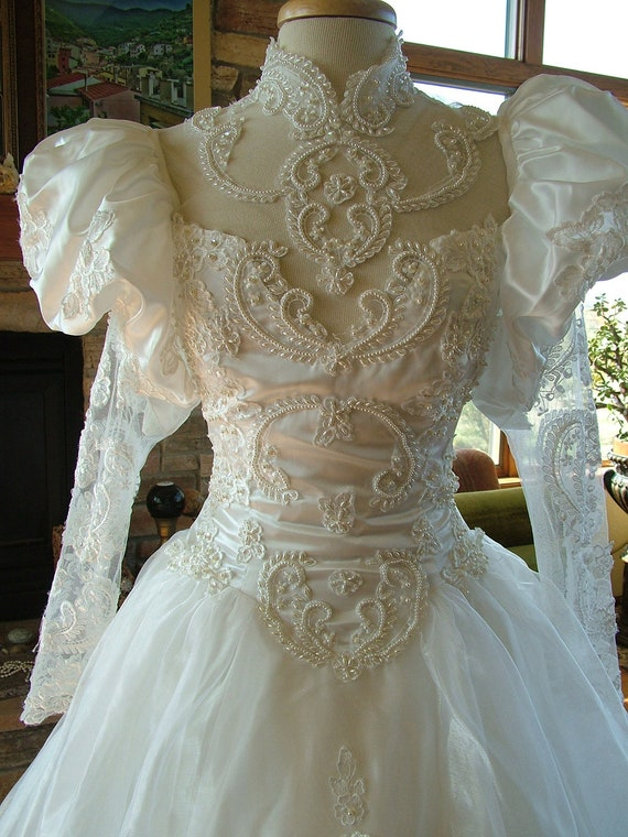 Wedding Dress Opulent 1980s Bridal Gown Ruffles Pearl Beadwork