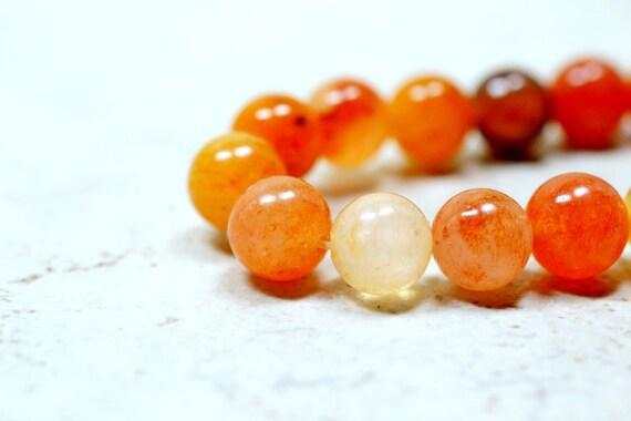 Natural Carnelian Beads 8mm Smooth, Round, Drilled Orange Gemstones Full Strand