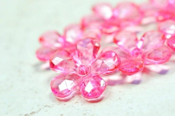 Large Hot Pink Flower Crystals 23mm Focal Pieces Lightweight Acrylic Crystal Beads 6 pcs