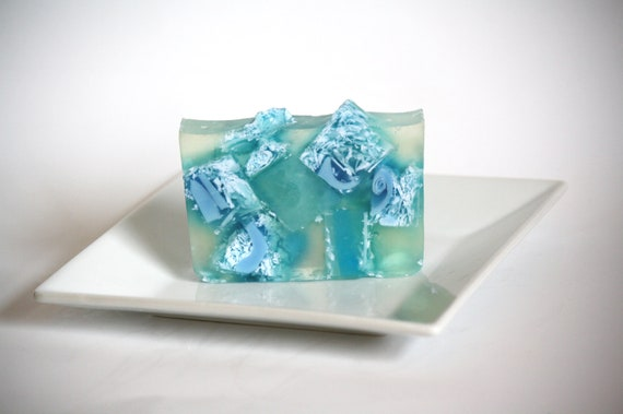 Fresh linen winter rainfall clear glycerin soap, blue, luxury, delicate, feminine, fresh leafy, natural, perfect gift,