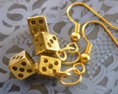 Dice Earrings - Dice Charms, Gold Plated Metal, Dangles, FREE SHIPPING