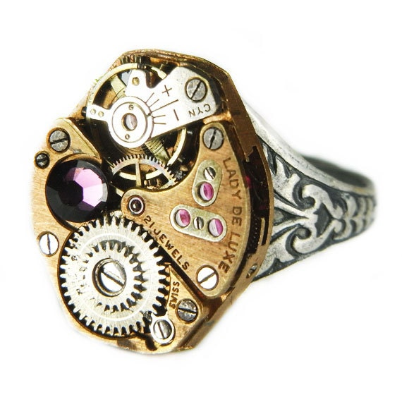 Women's STEAMPUNK Ring Jewelry - Watch Movement TORCH SOLDERED - Rose Gold w/ Amethyst Swarovski Crystal - Cool Colors