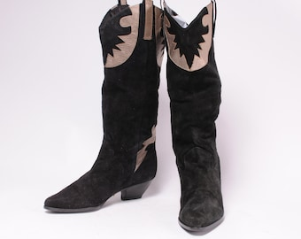 1980s Black Suede Woman's Boot by 9West Size 6