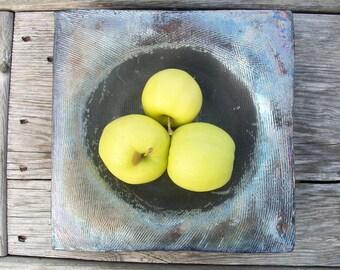 Metallic Square - raku bowl
