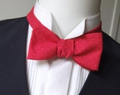 Bow Tie - in red with an orange pindot, freestyle, classic bowtie, for him - self tie