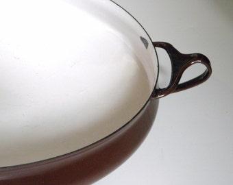 Vintage Brown Dansk Kobenstyle Enamel Paella Pan - Chocolate Brown Dansk