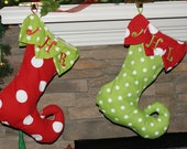 CHRISTMAS STOCKING PERSONALIZED Curly Elf Toe Style Free Personalization Set of 2