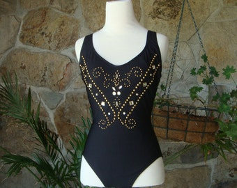 80s GLAM STUDDED SWIMSUIT vintage gold crystal S