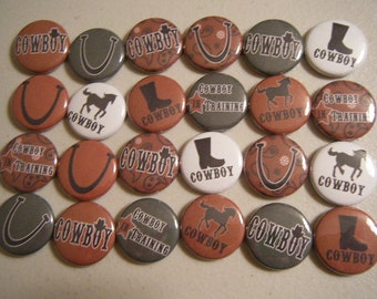 24  CowBoy Western Pinback Button Party Favors Brooch Pin Set