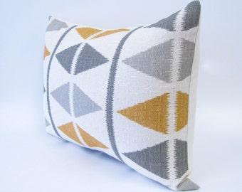 GRAY  and GOLDEN YELLOW decorative pillow cover - ikat chevron print - lumbar pillow - 18x18 and 12x16