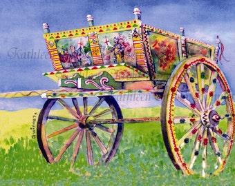 Carretto Siciliano - Sicilian Cart - Sicily -- Italy -- Reproduction Print of Original Watercolor by Kathleen Gwinnett