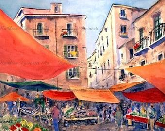 Palermo Marketplace,LA VUCCERIA,  Sicily Italy  North Carolina Artist Kathleen Gwinnett
