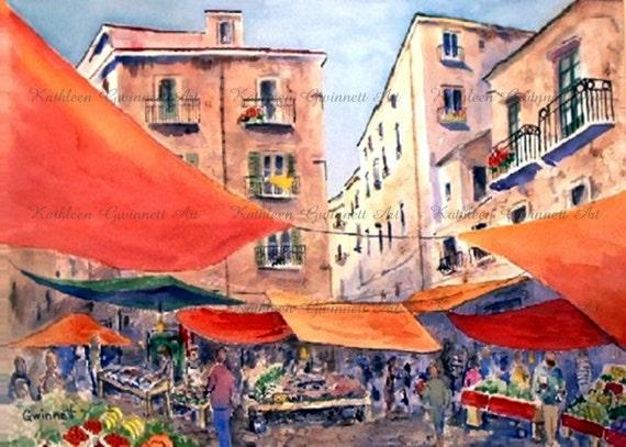 Palermo Marketplace,LA VUCCERIA,  Sicily Italy Reproduction Art Print of Original Watercolor by North Carolina Artist Kathleen Gwinnett