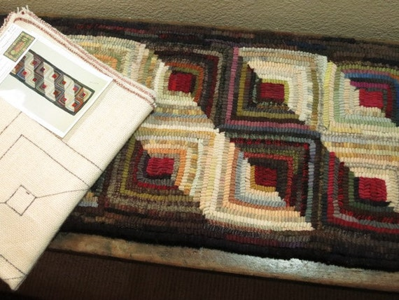 "Rug Hooking PATTERN, Log Cabin Runner, 12"" x 37"", J787, Geometric Hooked Pattern, Sunshine and Shadows, Geometric Design"