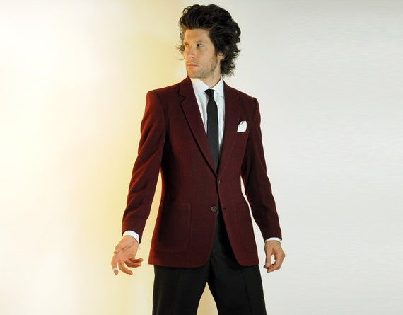 mens maroon suit jacket Nino Cerutti red by CarnivalOfTheManiac