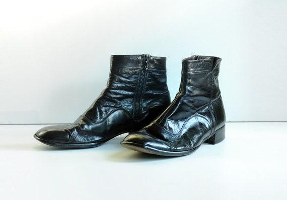 black leather boots, Bally Switzerland, Ranger Continentals, buttery soft, side zipper, mens size 10.5 M