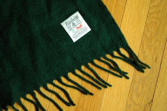 60s Faribo wool throw blanket fringed forest green evergreen Faribault Woolen Mills Minnesota