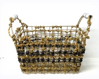 Rattan Basket METAL- Sewing Basket- Hand Woven Reeds- Storage-  Rustic Decor- Kitchenware