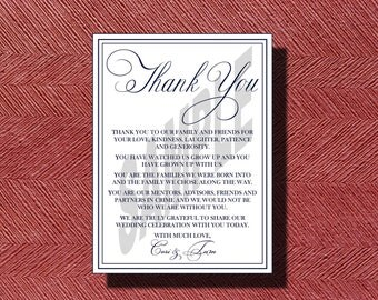 Custom Designed Wedding Day Thank You Card Sign or Poster