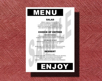 Modern Wedding Reception Dinner Menu