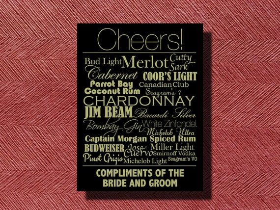 Art Deco Wedding Reception Bar Menu