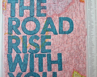 Germany/ May The Road Rise With You/ Letterpress Print on Antique Atlas Page