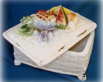 Covered Box Raised Fruit Design on Lid Vintage Ceramic Rectangular Shape Jewelry Box Trinket Box Tobbaco Box  Catch-All Box
