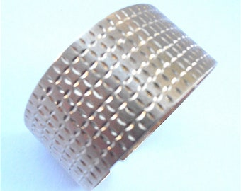 Vintage 14k Yellow Gold Cuff Bracelet Textured Gold Cuff Bracelet Genuine Bangle Extra Wide Band Etch Gold Bracelet Engraved Gold Bracelet