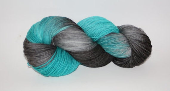 Ultra Soft Merino Superwash- 100 grams Color Grey, Black, Teal  Hand Dyed Yarn