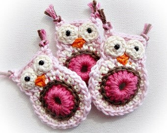 Set of 8 Pink  Lisa Crochet Owls