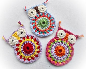 Set of 3 Big  Lisa Crochet Owls