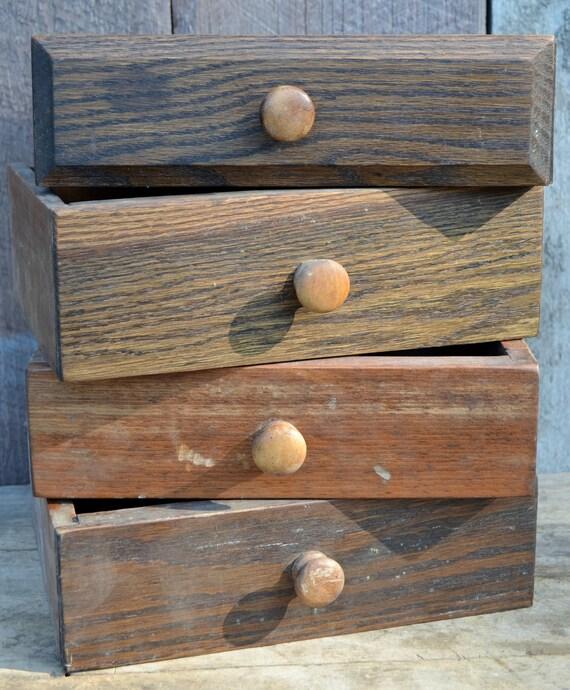 Stackable wood drawers set of four bookshelf storage jewelry