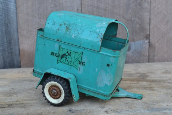 Toy Horse Trailer Structo Metal Aqua Turquoise 1950's
