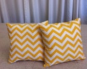 2 Chevron Yellow Throw Pillows 16 x 16 with Insert Included