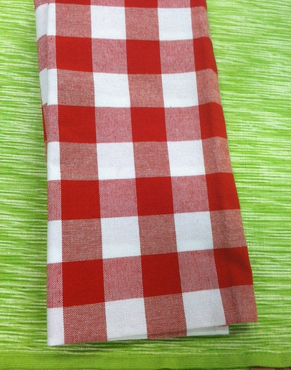Set of 8 Dinner Napkins in  Gingham Red and White Checker Fabric  16 x 16 Wedding Party Reception