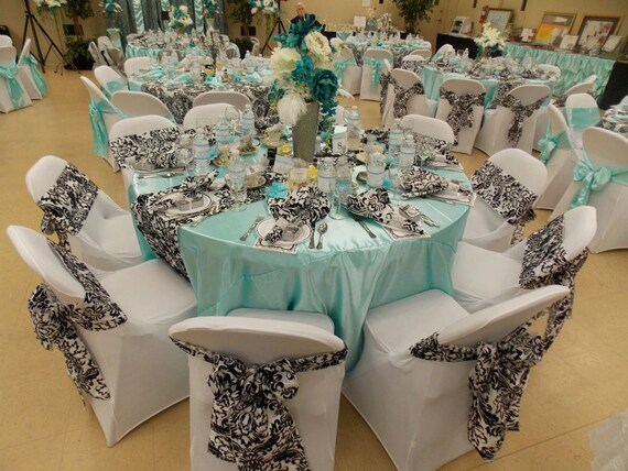 Captivating Custom Made Satin Aqua Blue Tablecloth 60 Inch Round