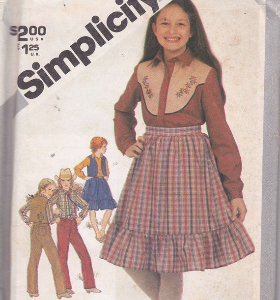 Simplicity 5249 Western Style Skirt Lined Vest Pants and Shirt Sewing Pattern Uncut With Embroidery Transfer SIze 14
