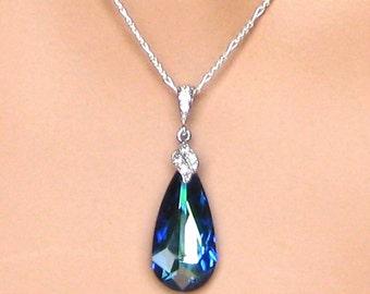 Bridal Necklace. Bermuda Blue Pendant. Bridal Jewelry. Wedding Jewelry. Bridesmaids Jewelry. Wedding Necklace