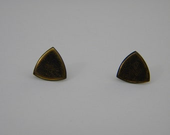 Bronze Triangular Engraved Earrings