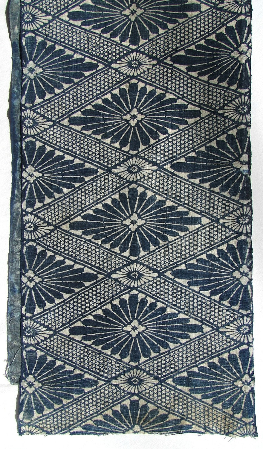 Antique indigo cotton japanese katazome floral geometric for Most popular fabric patterns