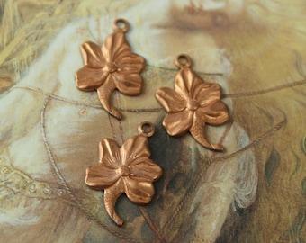 3 Vintage Old Brass Victorian Leaf Pendant Pieces