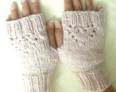 Heart Lace Fingerless Gloves / Pink Pastel/ Shabby Cottage Chic