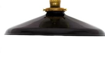 "Industrial Gloss Black 12"" Porcelain Enamel Shade Edison Flush Mount Light ( antique brass or chrome )"