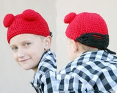 5 Dollar Clearance - Hellboy hat fits preteen, teen and adults - made with NEW Milk protein cotton yarn -