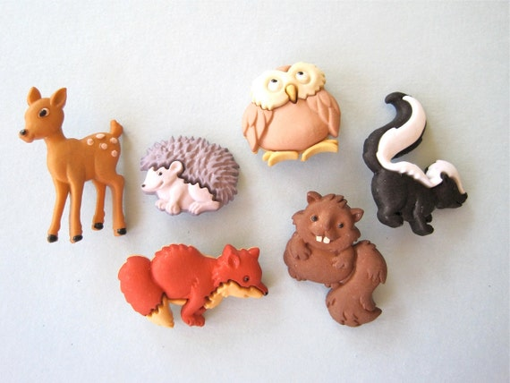 Forest Baby Animals Craft Novelty Sewing Buttons