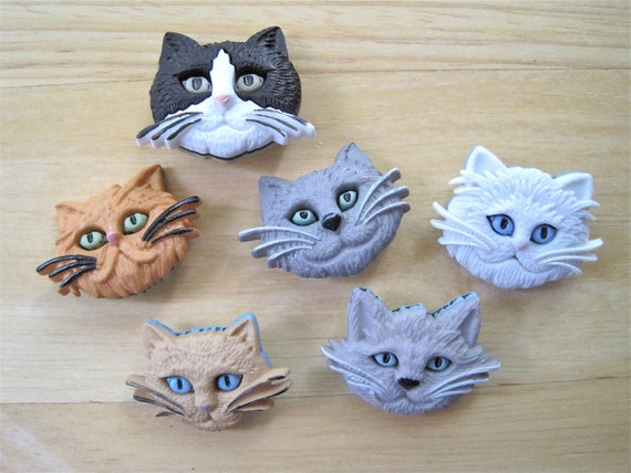 Kitty Cat Faces Craft Novelty Sewing Buttons